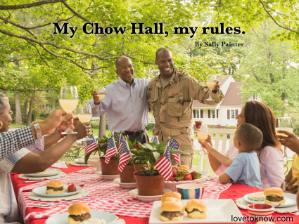 Military family having a barbecue and a military family quote
