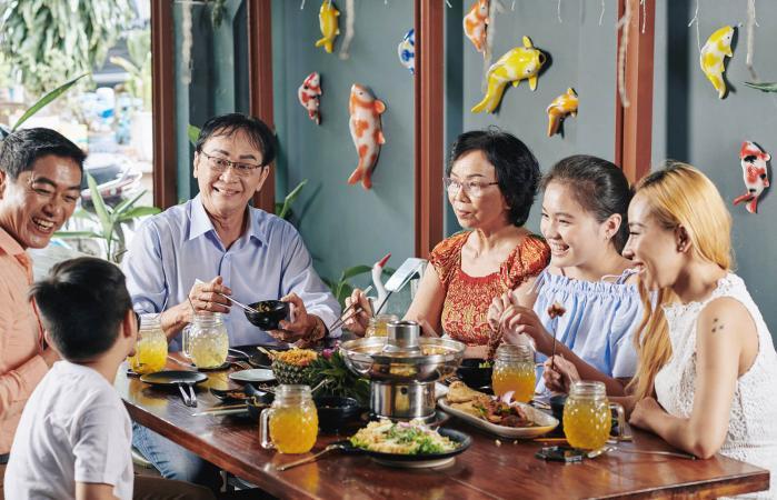 Vietnamese family at dinner