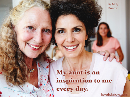 Aunt and niece hugging and a aunt inspirational quote