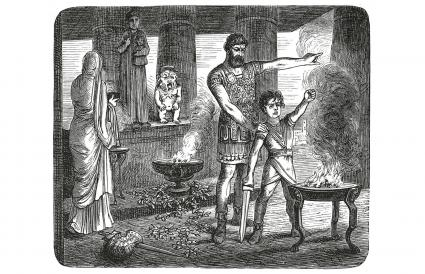 Vintage engraving of Hannibal's vow