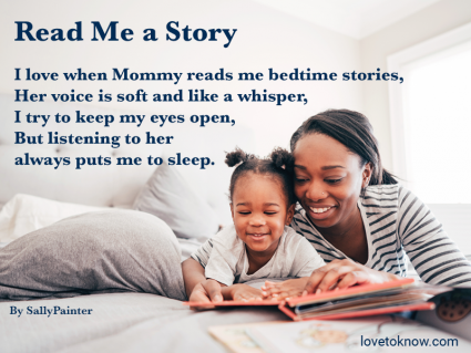 Mom and daughter reading in bed and poem