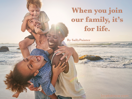 New family at the beach and welcome to the family quote