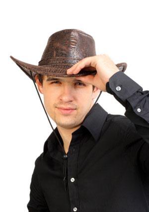 Man wearing stetson cowboy hat