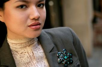 Woman wearing brooch