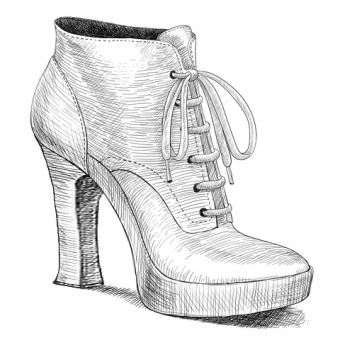 Drawing of vintage womens high heel shoes