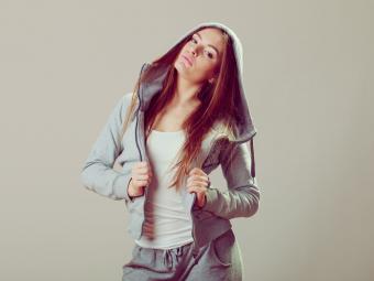 Teenage girl in sweatshirt