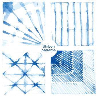 Shibori indigo-dyed