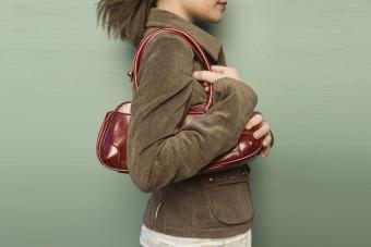 Woman wearing corduroy jacket
