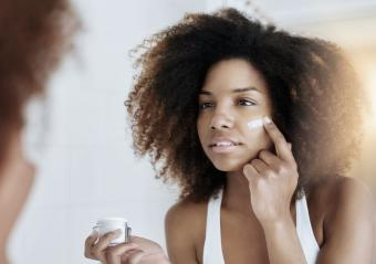 Applying skin cream