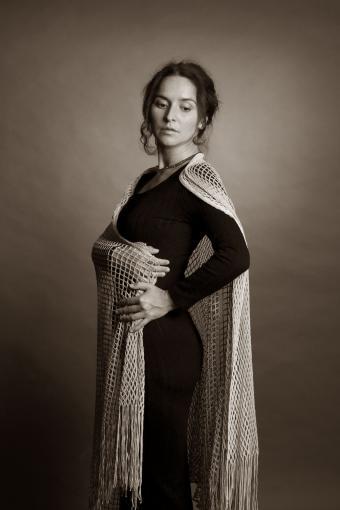 Woman wearing shawl