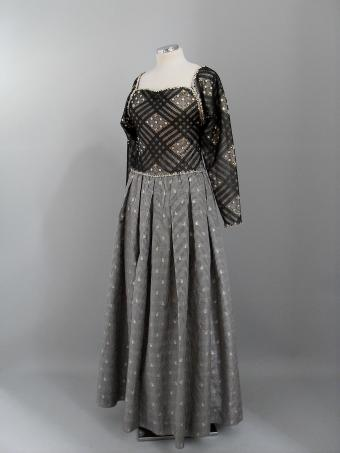 Black, grey and white evening gown by James Galanos. America, 1980.