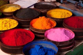 Pigment fabric dyes in Cuzco, Peru