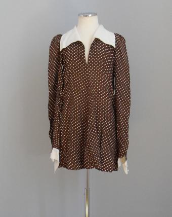 Minidress, Biba, London, 1967-70. Brown with white polka dots