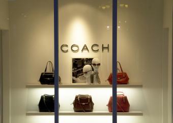 coach handbags in a window