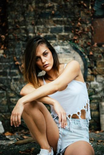 Girl in grunge casual clothing