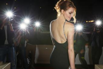Celebrity in black dress