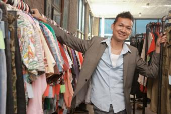 Man shopping in second hand store