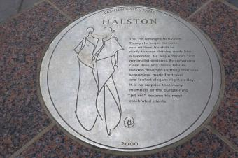 A plaque honoring designer Halston on the Fashion Walk of Fame in NYC