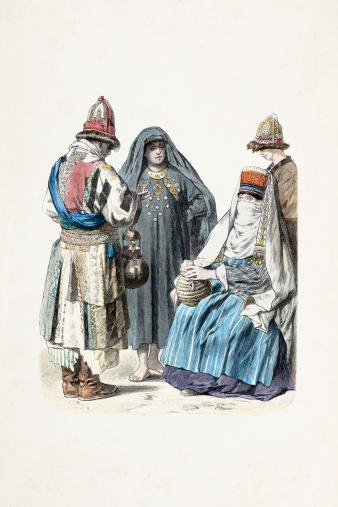 Turkmenistan traditional clothing 19th century