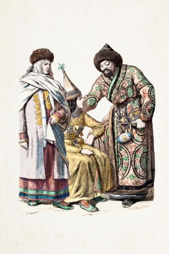 Kyrgyzstan traditional clothing 1870