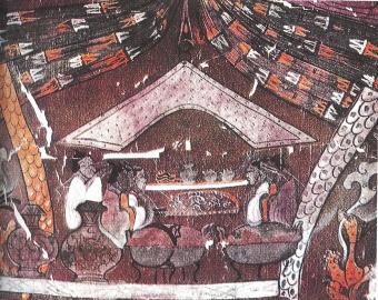 Chinese silken banner