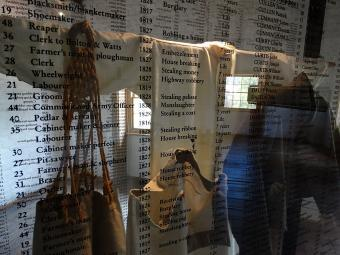 Display with convict clothing