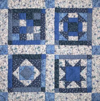 Blue quilt blocks