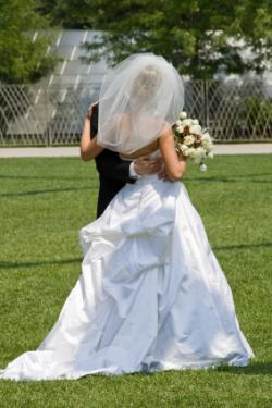 Wedding gown with bustle