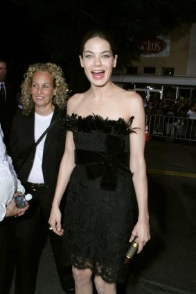 Michelle Monaghan wearing dress with feathers