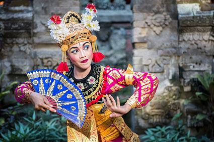 Traditional Ramayana dancer in a temple of Bali.
