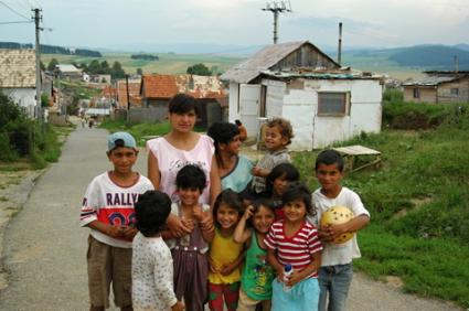 Family on the outskirts of Betlanovce, a Gypsy village in Slovakia