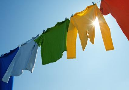 Colorful clothes on a laundry line