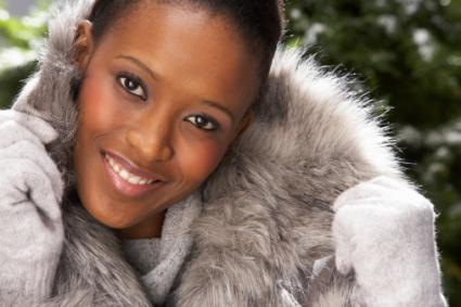 Fashionable Woman Wearing Fur Coat