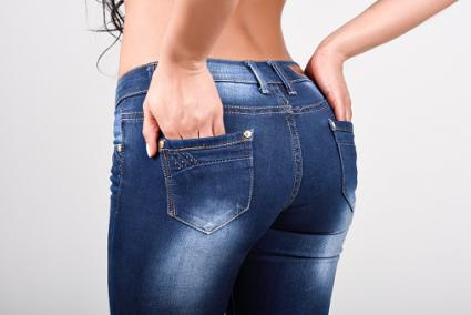 Woman wearing blue jeans
