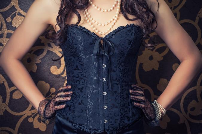 Woman wearing black corset