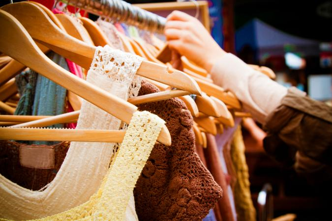 Second-hand clothes at market