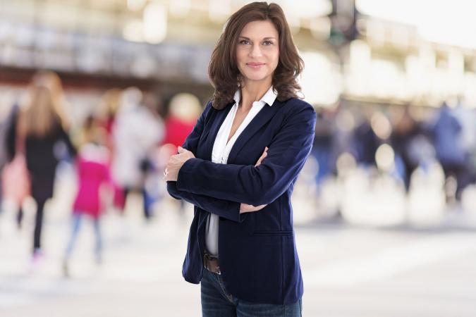 Woman wearing blazer