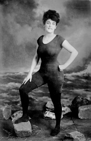 Annette Kellerman (1887-1975), Australian professional swimmer, in her famous custom swimsuit.