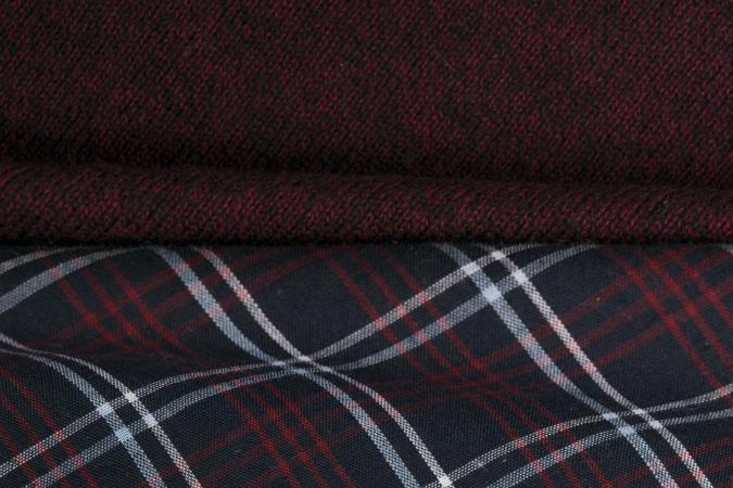 Rippled checked Burgundy textile with white and red lines