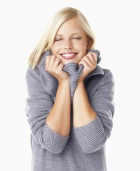 Woman wearing comfortable wool sweater