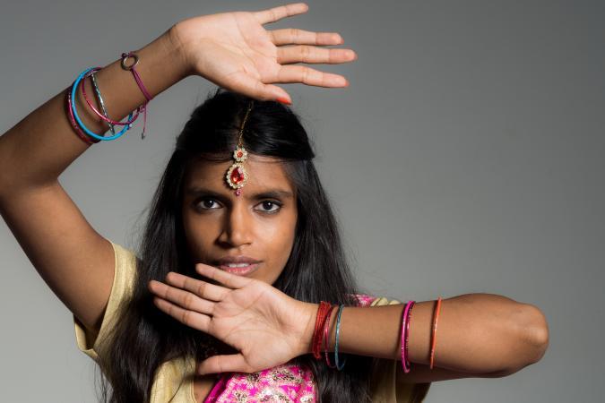 Indian woman wearing bracelets