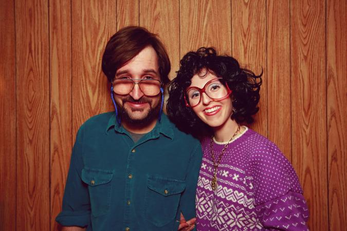 Couple Wearing Oversized Glasses