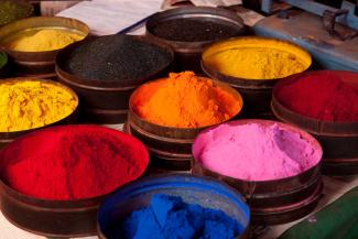 Pigment fabric dyes in Cuzco, Peru