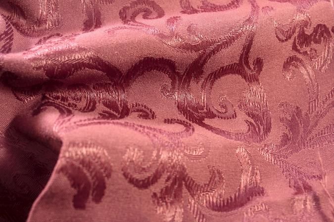Burgundy damask jacguard fabric