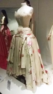 1949-50 Christian Dior ballgown called 'Henri Sauguet,' white pleated georgette and chiné silk taffeta
