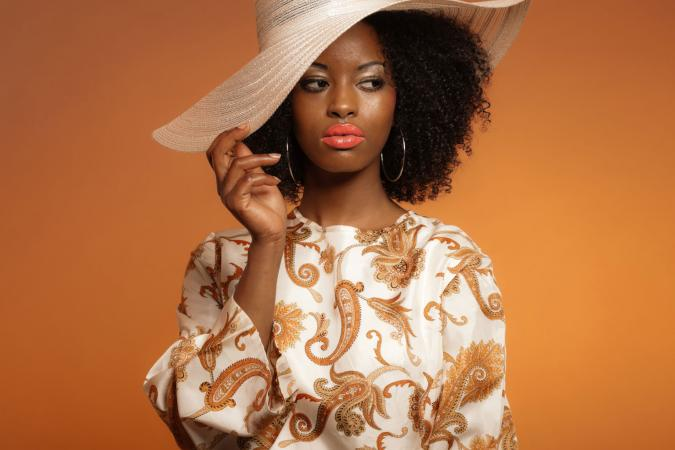 Woman wearing paisley dress
