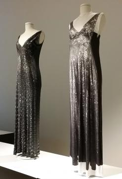 Viscose jersey printed with trompe l'oeil print of a sequinned evening gown