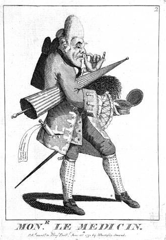 'Monr. Le Medicin', a macaroni with clyster, umbrella and snuff; anon., for M. Darly