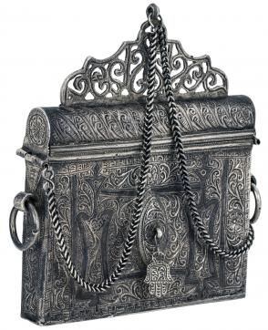 Elaborate silver purse