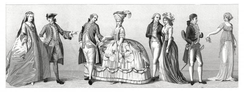 Typical costumes from Western Europe - Germany, France (XVIII century)
